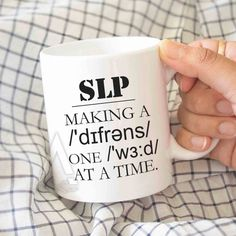 """Gift for speech therapists, """"Making a difference one word at a time"""" mug, speech therapist gift, gift for slp, slp mugs, slp gifts MU172 by artRuss on Etsy"""