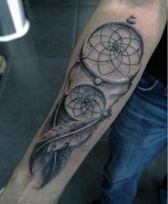 Mens Inner Forearm And Wrist Dreamcatcher Shaded Black Ink
