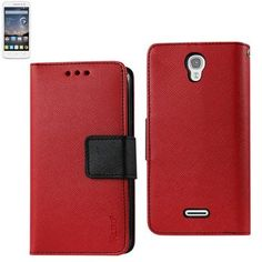 Reiko Wallet Case 3 In 1 For Alcatel Onetouch Pop Astro Red With Interior Leather-Like Material & Polymer Cover