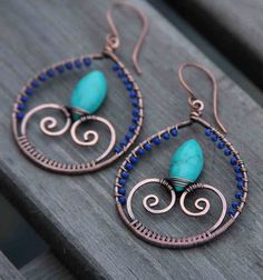 Copper Lapis Lazuli Turquoise Wire Wrapped Hoops on Etsy, $42.00