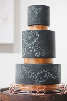 Chalkboard Black Wedding Cake