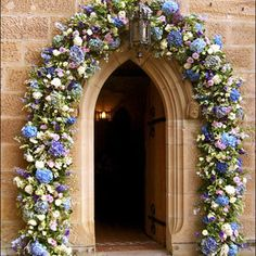 Susan Avery Church Entrance Was thinking this sort of idea for the heart you describe with all the hydrangers focussing on blues and violets?