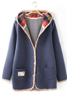 Casual Floral Print Embellished Polka Dot Long Sleeve Hooded Coat For Women Mode Outfits, Fashion Outfits, Womens Fashion, Sweater Weather, Ethno Style, Mode Vintage, Quilted Jacket, My Wardrobe, Beautiful Outfits