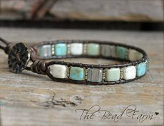 Tile Bracelet Tile Wrap Bracelet Beaded Leather Wrap