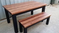 Rustic wooden dining table with 45mm thick top and matching bench seats, made to order These tables are made from pine timber that can be stained or painted in ..., 1113024129