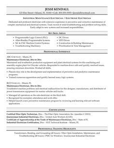 sample resume electriciansample resumes cover letter examples - Resumes And Cover Letters