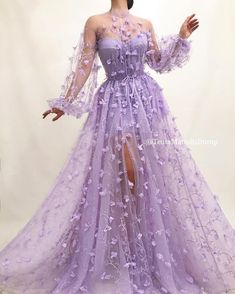 Details - Lavender dress color - Tulle dress fabric - Embroidered purple flowers - A-line gown with waist definition and long sleeves - For parties and special occasions # Quinceanera purple Rozarian Bloom Gown Floral Prom Dresses, Cute Prom Dresses, Prom Dresses Long With Sleeves, Prom Outfits, Pretty Dresses, Sexy Dresses, Flower Dresses, Summer Dresses, Dress With Flowers