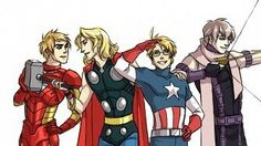 Hetalia | Britian as Iron Man, France as Thor, America as (who elese?) Captian America, and Russia as Hawkeye