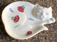 Lenox China Poppies on Blue Barnyard Cat spoon rest---my other set of dishes..have this to go with.