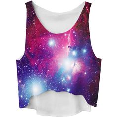 Blue Gradient Galaxy Printed High Low Fashion Ladies Crop Top ($6.84) ❤ liked on Polyvore featuring tops, shirts, galaxy, crop tops, galaxy shirt, crop shirts, galaxy print crop top, cosmic shirt and purple top