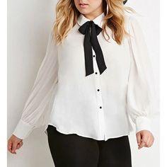 Fashionable Long Sleeve Bow Tie Collar Chiffon Blouse For Women