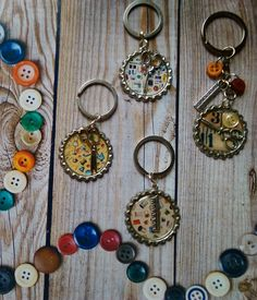 """Assorted """"Sewing Theme"""" button keyrings - Page 1"""