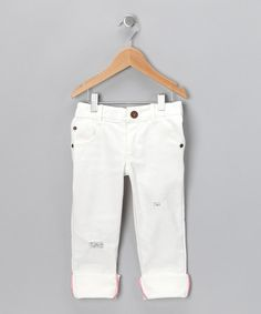 Take a look at this White Jagged Jeans - Toddler on zulily today!