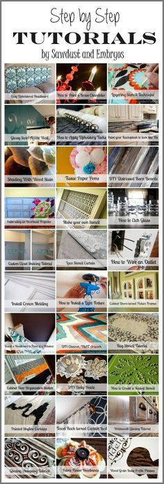 Tons of Step-by-Step Tutorials {by Sawdust and Embryos}