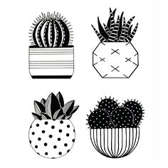 I really like this little design of cactus illustrations in black and white. It would be cool to use as greeting cards or something.