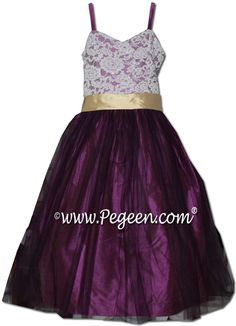 Pegeen flower girl dress in thistle and pure gold silk with aloncon lace and purple tulle - Style 496