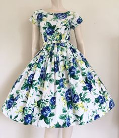 Amazing Orignal 50s Blue Floral Cotton Party by TheWordfromtheBird