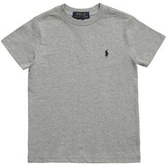 Ralph Lauren Boys Grey Cotton Jersey T-Shirt with Logo ($23) ❤ liked on Polyvore featuring shirts and tops