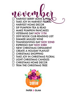 November Seasonal Living List by Paper & Glam – A monthly seasonal living list helps us celebrate each season of the year and find joy in everyday! Glam Planner, Life Planner, Happy Planner, Planner Ideas, Monthly Celebration, Fee Du Logis, Planners, Pumpkin Tea, Tea Reading