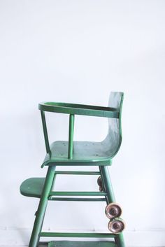 Wooden kids chair, old, green,