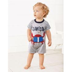 Gray Clawesome Crab Applique One Piece Romper