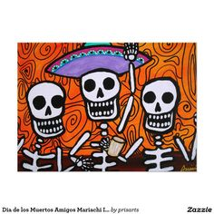 Dia de los Muertos Amigos Mariachi Invitationcalavera, marichi, gitara, amigo, amigos, friend, friends, bestfriend, office, family , wedding, Dia de los Muertos Tres Amigos Mariachi Card invitation, party, invites, planning a party, Day of the Dead Fiesta Get Together
