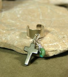 Turquoise and Cross Ear Cuff   by StoneWearDesigns