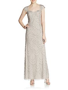 Adrianna Papell - Beaded Cap-Sleeve Gown
