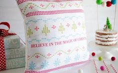 Cross Stitch Christmas Pillow from a Holiday Pajama Party on Kara's Party Ideas | KarasPartyIdeas.com (18)