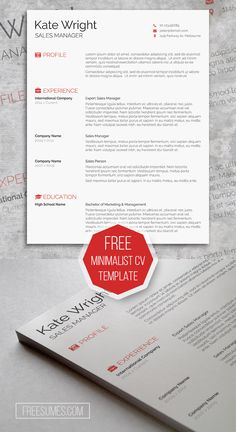 Free Clean Amp Minimalist CV Template For Microsoft Word Immediate Download Resume