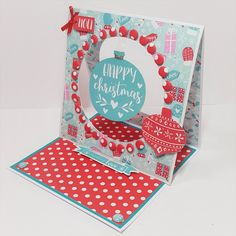 Double Aperture easel card designed by Jennifer Kray using Julie Loves, All Wrapped Up Paper Kit