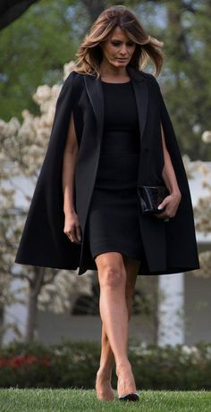 First Lady Melania Trump Wore a Casual Blazer and Jeans to Game 5 of the World Series : Melania Trump wears a black dress and Givenchy cape outside of the White House. Melanie Trump, Givenchy, First Ladies, Fashion Models, Fashion Tips, Fashion Trends, Work Fashion, Fashion Photo, How To Look Rich