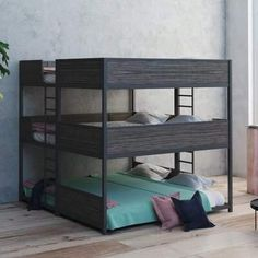 Isabelle & Max Jalynn Heavy Duty Triple Bunk Bed Bed Frame Color: Tierra Linea, Size: Twin over Twin over Twin Home, Bunk Beds, Bed, Furniture, Junior Loft Beds, Convertible Toddler Bed, Toddler Bed With Storage, Bed Frame Design