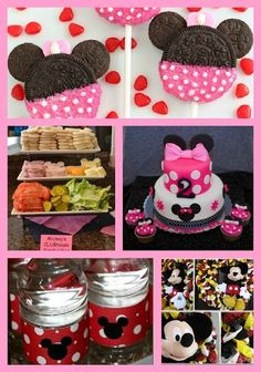 Minnie Mouse Birthday Party Ideas - Love the oreos & maybe the cake too!