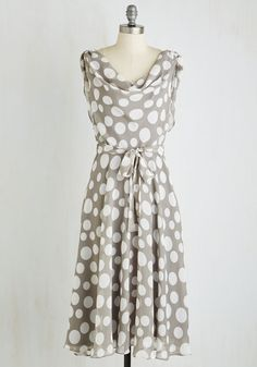 Undeniably Adorable Dress. It's impossible not to smile when you see yourself in this grey, polka-dotted dress! #grey #modcloth