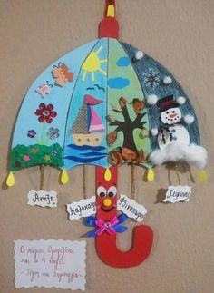 Super Idee! Jahreszeitenschirm :) #seasons #Jahreszeiten #Winter #Sommer #Frühling #Herbst #basteln #DIY Schule #Grundschule #Kunst #Sachunterricht