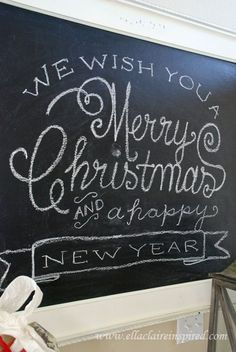Free Christmas chalkboard template by Ella Claire
