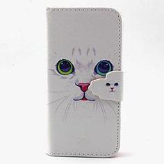 fehér macska mintás műbőr tokban kártyahely és állni Samsung Galaxy S4 mini / s3mini / s5mini / S3 / S4 / S5 / S6 / s6edge