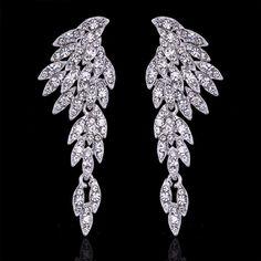 Platinum Plated Eagle Shape Bridal Long Silver Color Rhinestone Earrings