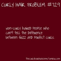Curly Hair Problem: Non-curly haired people who can't tell the difference between frizz and perfect curls.