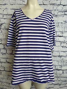 321408770a0 Liz  amp  Me Shirt Plus Size 3X 26W 28W Blue White Striped Short Sleeve  Pullover