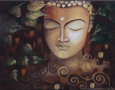 """Original Figurative Acrylic Art on the Canvas TITLE: The Buddha DIMENSIONS: 20"""" X 16"""" inches Matte Finish This is a Modern, Coarse Textured, Figurative, Spiritual, Contemporary, Original, Affordable, Beautiful and Unique piece of art by the Artist Mounika. This art piece is a unique creation and 100% hand painted. Painted on a high quality wrapped gallery canvas with no visible staples. It can be displayed framed or unframed."""