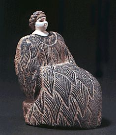 Bactrian female figure, gray chlorite, marble, and lapis lazul. Bactria, ca late 3rd millennium BCE