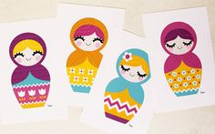 Belinda Strong | Set of four 4 x 6 prints, sure to brighten up any room! One of each of the Matryoshka Dolls pictured. Buy the entire set and save $5 off the cost