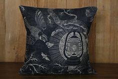 Cameron Short's ethereal 'Nightjars' tells the story of a midsummer night. An old lantern hangs in a hawthorn tree; Night Jar, Old Lanterns, Printed Cushions, Midnight Blue, Throw Pillows, Block Prints, Design, Snug, Tuesday
