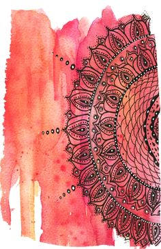 "I like the fish net design here ""Red Mandala"" Art Print - Art by Li Zamperini Art Mandala Art, Design Mandala, Mandalas Painting, Mandalas Drawing, Painting Inspiration, Art Inspo, Posca Art, Zen Tangles, Desenho Tattoo"