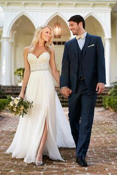 A Line Lace Top Sweetheart Wedding Gowns,Long Ivory Side Slit Bridal Dresses OK378 #weddinggowns