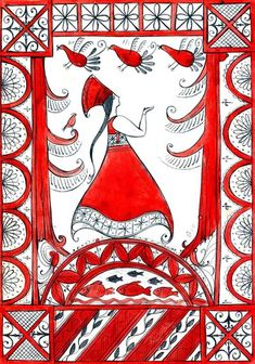 Russian folk crafts: Mezen painting by Autumn Sacura