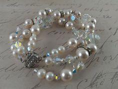 Triple strand vintage crystal and pearl bracelet by Tootsiejos, $47.00