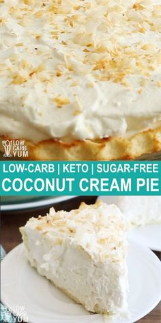 Coconut cream pie is one of the most popular low carb desserts refined sugar free desserts keto sweets desserts low carb sweet desserts sugarfree ketorecipes lowcarbdesserts Desserts Keto, Sugar Free Desserts, Sugar Free Recipes, Keto Snacks, Low Carb Recipes, Dessert Recipes, Sweet Desserts, Dinner Recipes, Holiday Desserts